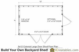 shed floor plans 8x12 colonial large door shed plans backyard storage shed plans