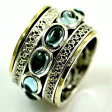 spinner rings spinner ring with blue topaz