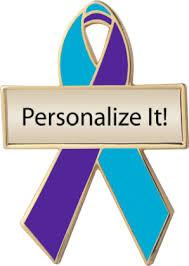 teal ribbons teal and purple custom awareness ribbons lapel pins