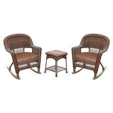 Resin Wicker Rocking Chair Jeco 3 Pc Wicker Rocker Chair Set With Side Table Hayneedle