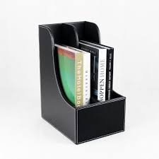 Desk Filing Organizer Slot Curved Wood Leather Desk File Book Magazine Documents Stand