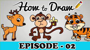 how to draw a monkey tiger u0026 deer stepbystep cartoon art