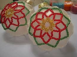 poinsettia beaded ornament part 1 of 2
