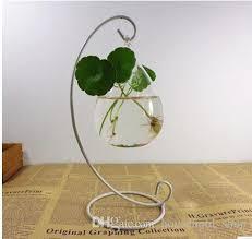 Round Flower Vases Holder For Hanging Glass Vase For Flower Microlandschaft Metal