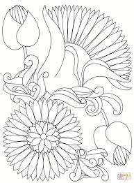 abstract flowers coloring page free printable coloring pages
