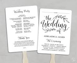 Fan Wedding Program Kits Printable Wedding Program Template Fan Wedding Program Kraft