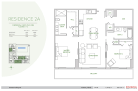 aventura parksquare floorplan 2a 2 bedroom 2 bath den