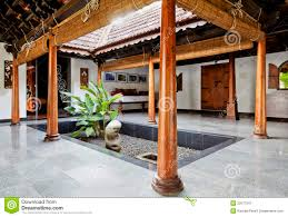 interior design courtyard in kerala bungalow royalty free stock