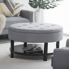 Gray Leather Ottoman Living Room Storage Cube Ottoman With Tray Round Storage Stool