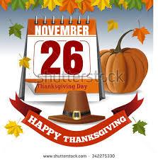 calendar november 26 thanksgiving day vector stock vector