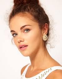 large stud earrings river island large sun stud earrings in metallic lyst