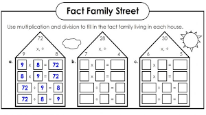 blank fact family worksheets kiddo shelter math for first grade