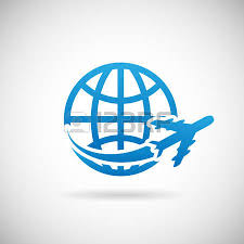 world travel symbol airplane and globe icon design template vector