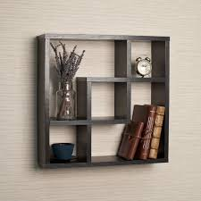floating square shelf wall set wooden display living room