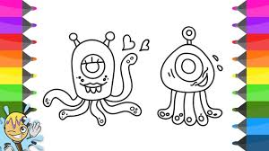 how to draw alien coloring pages characters learning drawing