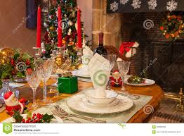Setting Formal Dinner Table Christmas Dinner Table Setting Warm Ambiance Stock Image Image