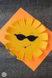 Easy Paper Craft Ideas For Kids - rain cloud paper craft with a paper plate sun spring time cloud