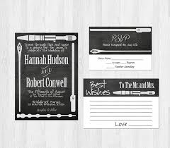 wedding wishes regrets sci fi weapon wedding invitation suite chalkboard wars lord