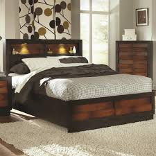 King Bed Headboard Rectangle Grey Bed With Large Brown Wooden Headboard With Shelf