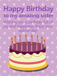 purple polka dots happy birthday card for sister birthday