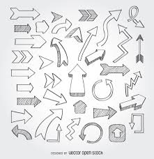 doodle presentations collection of doodle arrows icons are sketched in black pen