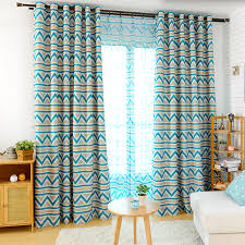 Yellow And Blue Curtains Contemporary Brief Blue And Yellow Striped Geometric Curtains