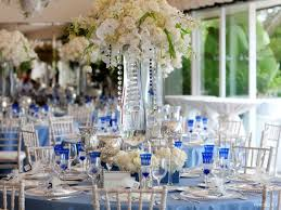 blue and silver wedding centerpieces cobalt blue white silver