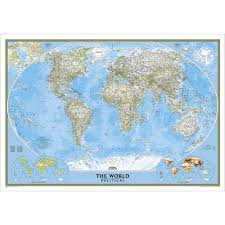 Map Of Pacific Ocean World Classic Pacific Centered Wall Map Enlarged National