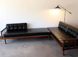 1960s black vinyl sofa daybed manly vintage