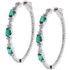 oval hoop earrings womens emerald diamond oval hoop earrings 18k gold 2 27 ct