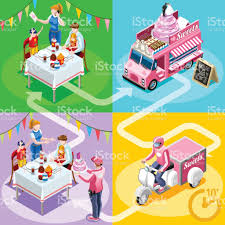 birthday delivery food truck birthday cake home delivery vector isometric