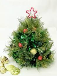 handmade christmas trees ideas floral mesh wrap green