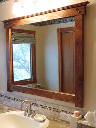 mission style bathroom mirror i custom made from salvaged flooring