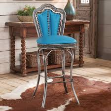 Western Style Furniture Southwest Silver Barstool With Turquoise Seat