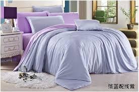 satin weave cotton pure color light purple duvet cover set sufey