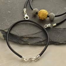 bracelet cord beads images Black leather cord bracelet with medium sterling silver lobster png