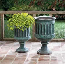 garden planter pot 12 inch outdoor weathered pedestal round