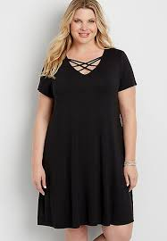 the 24 7 plus size t shirt dress with strappy neckline maurices