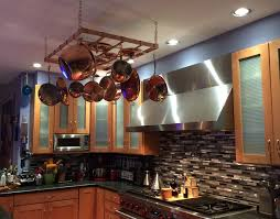 Kitchen Cabinet Pot Organizer Pro Hanging Pot Racks Handcrafted In Copper By The Metal Peddler