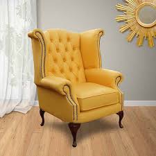 Chesterfield Wing Armchair Yellow Chesterfield High Back Wing Chair Designersofas4u