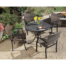 slate dining table set home styles stone harbor 40 in 5 piece slate tile top round patio