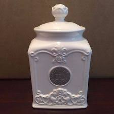 thl kitchen canisters thl pineapple quilted white ceramic tea canister w brass name