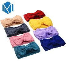 crochet hair bands mism women bow knot knitting turban wide headband crochet