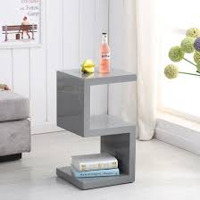 High Gloss Side Table Miami Side Table In Grey High Gloss With S Shape Design Makes A