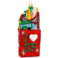 san francisco shopping bag glass ornament hobbies christmas