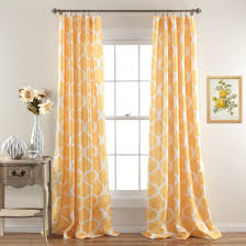 yellow trellis pattern curtains home decoration ideas