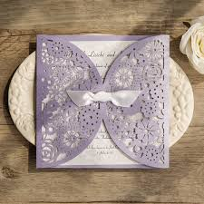 floral ribbon light purple floral laser cut wedding invitation with white ribbon