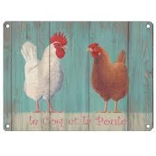 poule deco cuisine grande plaque décorative 30x40 le coq et la poule en métal