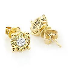 gold diamond stud earrings yellow sapphires and white diamond stud earrings 1 05ct 18k gold