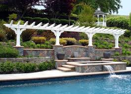 hill landscaping pool traditional with pool round outdoor bistro sets